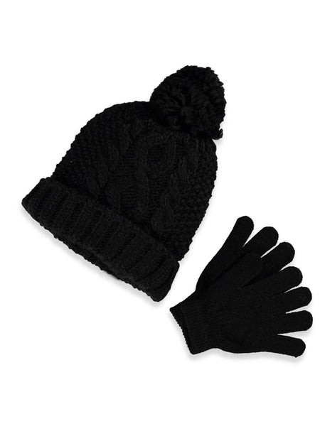 Black and White Pom Pom Personalized Cable Knit Beanies for Brooklyn Playschool
