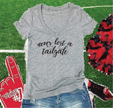 Never Lost a Tailgate Tee, Cute Football Shirt, Sports Graphic V Neck Shirt