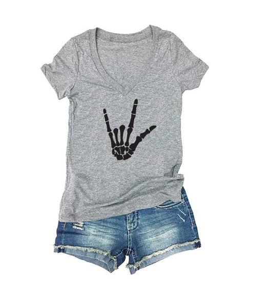Rock On Skeleton Hand Tee - Cute Graphic Shirts- V Neck Shirt- Womens T-Shirt