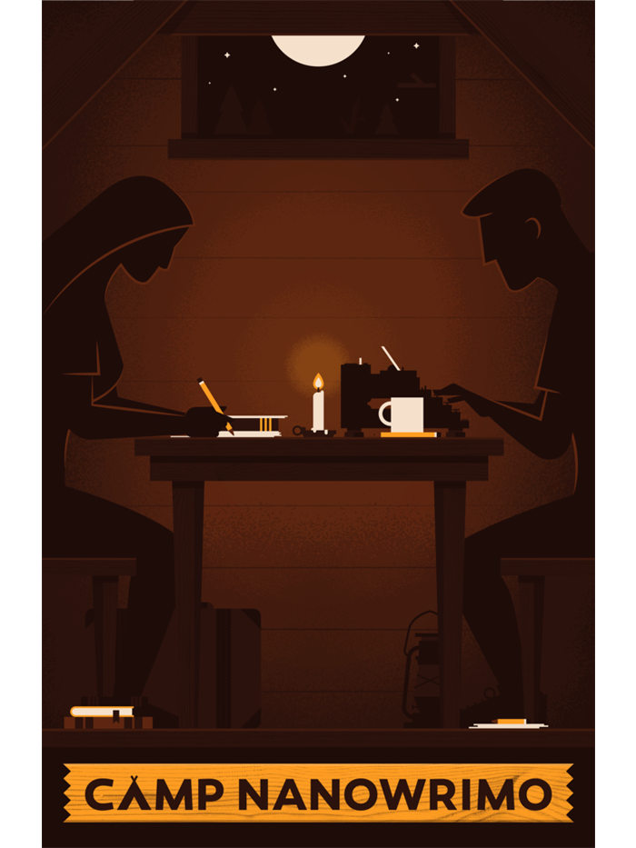 "Camp NaNoWriMo 2014 ""Candlelit Cabin"" Poster"