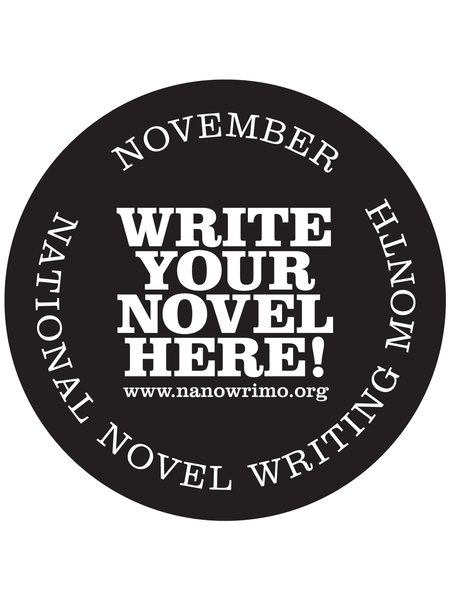 "NaNoWriMo ""Write Your Novel Here!"" Window Cling"