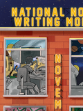 NATIONAL NOVEL WRITING MONTH is on top of the building in yellow as if it's a neon sign, and NOVEMBER comes vertically down the building between the windows in yellow neon-style type.