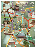 "Poster shows a subway-style map laid over watercolor-style illustration. Text in upper right reads ""NANOWRIMO, Choose Your Line."" There are 7 separate lines in purple, brown, orange, red, blue, yellow, and green with white dots to note stops. Stops are described in the second image."