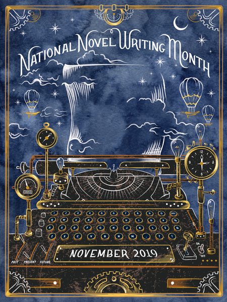 "NaNoWriMo 2019 ""Typewriter Time Machine"" Poster"