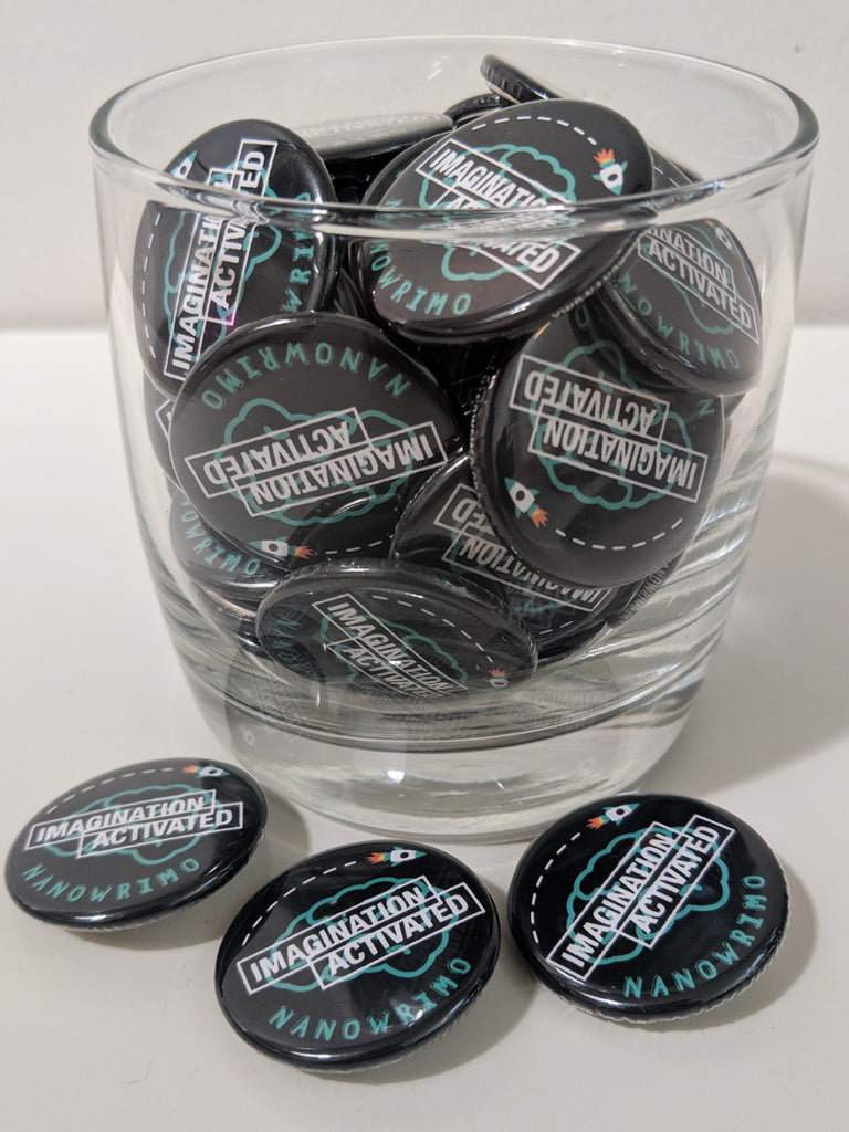 "NaNoWriMo YWP ""Imagination Activated"" Button Pack"