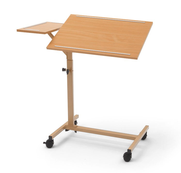 NEW - Duo tilting overbed table with fixed side tray