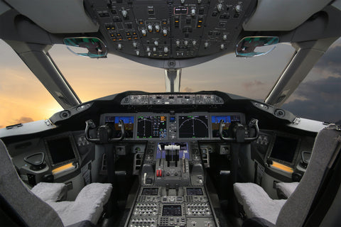 Boeing 787 Cockpit Printed Canvas Poster (Unframed)