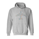 Colourful Airplane with Travel Icons Hoodies