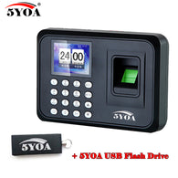 A01FY + usb flash drive biometric fingerprint punch time clock English Portuguese office attendance recorder machine reader
