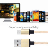 1m Woven Style Metal Head 58 Cores Micro USB to USB 2.0 Data / Charger Cable for Samsung, HTC, Sony, Lenovo (Light Yellow Gold)