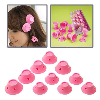 10 PCS Smart Peco Roll Hair Style Roller Curler Set(Pink)