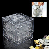 3D Puzzle Transparent Money Maze Bank Saving Coin Gift Box(White)
