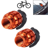 2 PCS Universal Grenade Shaped Bicycle Tire Valve Caps(Orange)