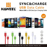 35 PCS Mixed Colors HAWEEL High Speed 35 Cores Micro USB to USB Data Sync Charging Cable Kit with Candy Cans Package for for Galaxy, Huawei, Xiaomi, LG, HTC and other smart phones, Length: 1m