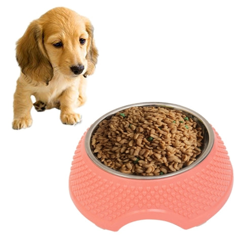 2 in 1 Stainless Steel  Bowls, Anti-slippery Mat Heart Shape Pattern Detachable Pets Bowls(Pink)