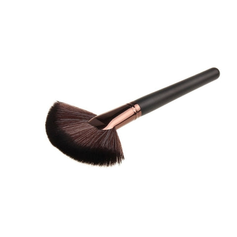 Wooden Handle Powder Foundation Cosmetic Makeup Fan-shaped Brush Tool