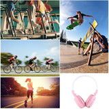 BS-N65 Headband Folding Stereo HiFi Wireless Headphone Headset with LCD Screen & TF Card Slot & LED Indicator Light & FM Function(Pink)