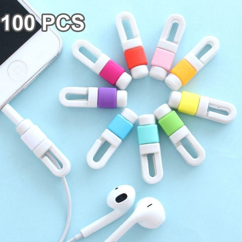 100 PCS Earphone Headphone Wire Cable Line Protective Cover Winder Cord Wrap Organizer, Random Color Delivery