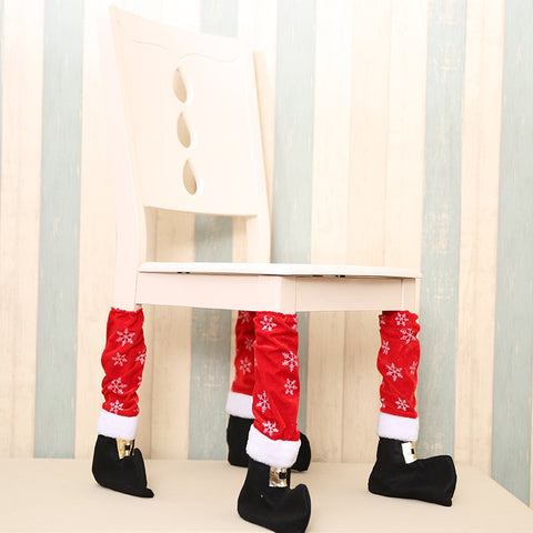 4 PCS Christmas Table Foot Set Christmas Chair Foot Cover Christmas Decorations, Size: 40*21cm