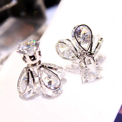 Fashion Style Glow Crystal Firefly Earrings Fashion Temperament Long Ear Earrings(Silver)