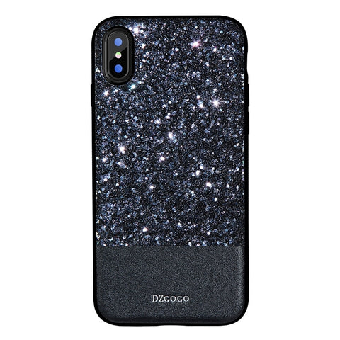 DZGOGO BLING Series for iPhone X PU + TPU + PC Sequins Grind Arenaceous Protection Case (Black)