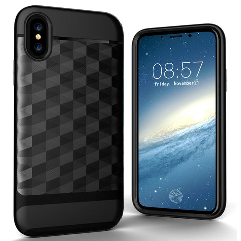 For iPhone X 3D Diamond PC + TPU Combination Protective Case  (Black)