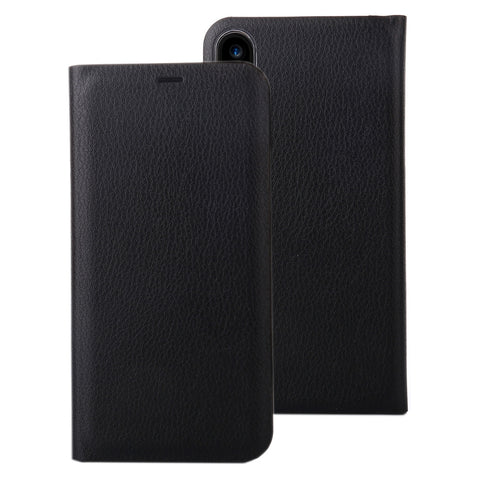 For iPhone X Litchi Texture PU + PC Horizontal Flip Leather Case with Card Slot (Black)