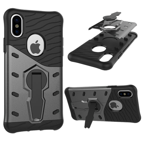 For iPhone X  Shock-Resistant 360 Degree Spin Sniper Hybrid Cover TPU + PC Combination Case with Holder(Black)