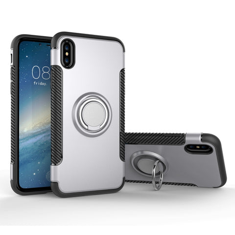For iPhone X  Magnetic 360 Degree Rotation Ring Armor Protective Case(Silver)