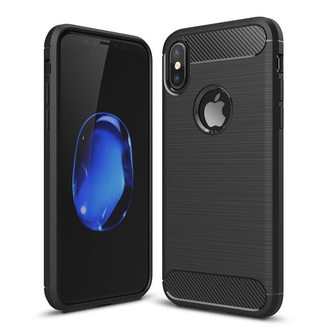 For iPhone X  Carbon Fiber TPU Brushed Texture Shockproof Protective Back Cover Case(Black)