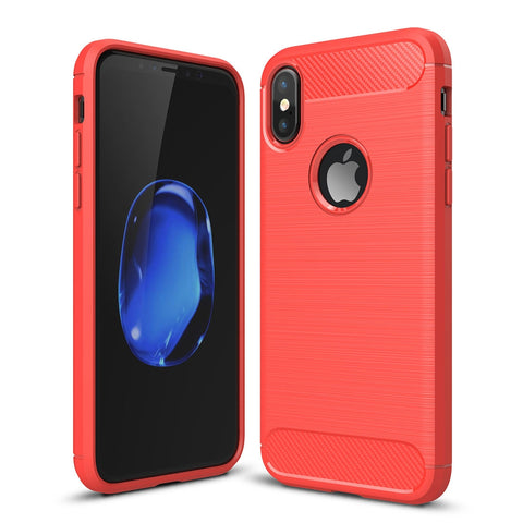 For iPhone X  Carbon Fiber TPU Brushed Texture Shockproof Protective Back Cover Case(Red)