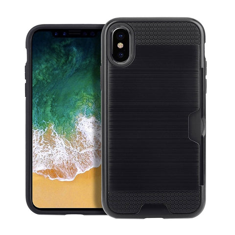 For iPhone X  Brushed Texture TPU + PC Dropproof Protective Back Cover Case with Card Slot(Black)