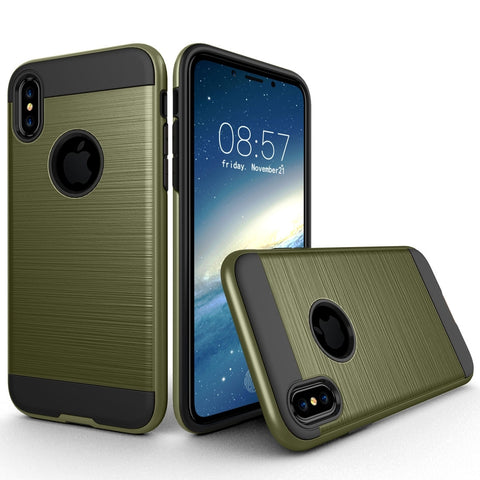 For iPhone X  Brushed Texture TPU + PC Dropproof Protective Back Cover Case (Army Green)