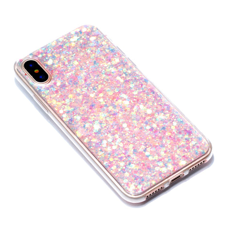 For iPhone X Colorful Glitter Powder Style Protective Soft case (Pink)