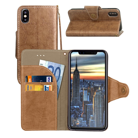 For iPhone X  Retro Crazy Horse Texture Wax Fake Leather Horizontal Flip Leather Case with Holder & Card Slots & Wallet & Lanyard(Coffee)