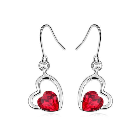 3 Pack Austrian Crystal Earrings - Cool Autumn (Colour: Light Red)