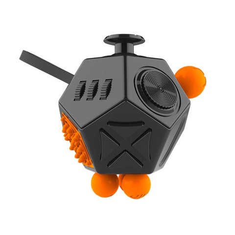 12 Sides Fidget Cube Generation 2 Decompression Toy Desk Magic Dice Funny Relieves Anxiety and Stress Toys Creative Gift with Gears & Rotating Dial & 360 Degree Joystick for Adults and Children(Black)