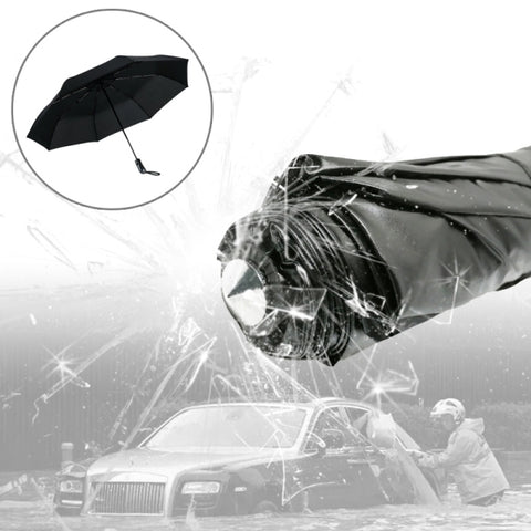 3-Folding Umbrella Automatic Auto Open Close Umbrella Ultraviolet-proof Waterproof All-weather Umbrella with Emergency Hammer Window Breaker(Black)