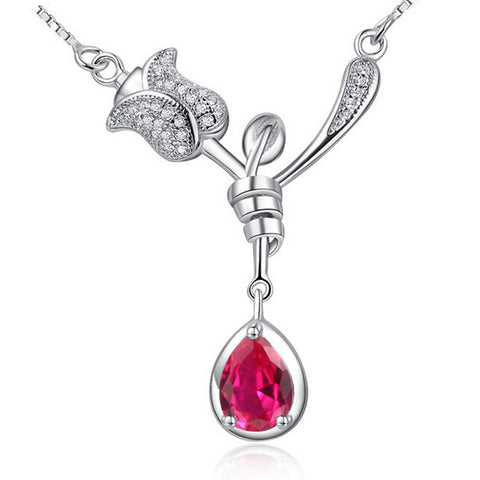 Rose Flower Style Sterling Silver Pendant Necklaces