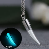 Glow In the Dark Necklace Silver Plated