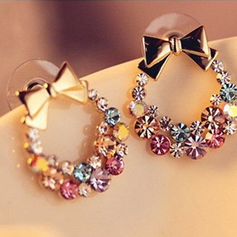 Colorful Crystal Rhinestone Gold Bowknot  Stud Charm Earrings