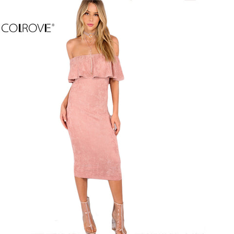 New Arrival Pink Faux Suede Off The Shoulder Ruffle Dress
