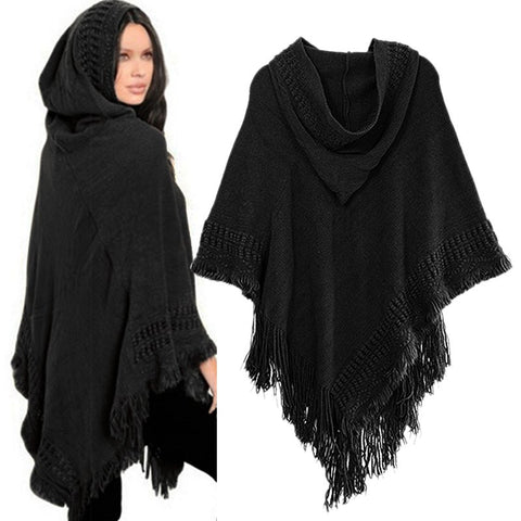 Knit Batwing Top Poncho With Hood
