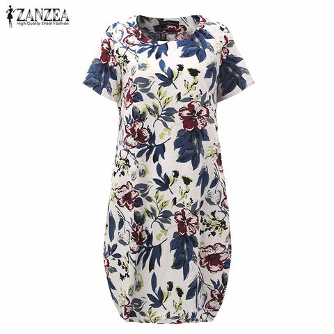 Women Vintage Floral Print Dress Short Sleeve Loose Casual