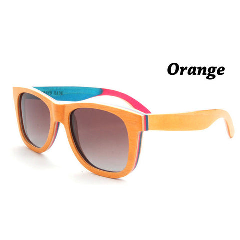 Summer style handmade vintage skateboard wood sunglasses