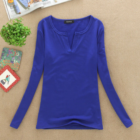 V-Neck Blouses Sexy Slim Knitted Long Sleeve Top