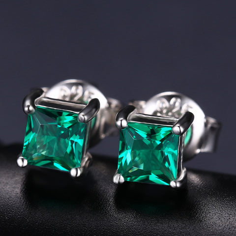 Square 0.6ct Created Emerald 925 Sterling Silver Stud Earrings