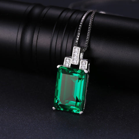 Luxury 6ct Created Emerald Pendant 925 Sterling Silver Pendant Fashion Jewelry Without Chain