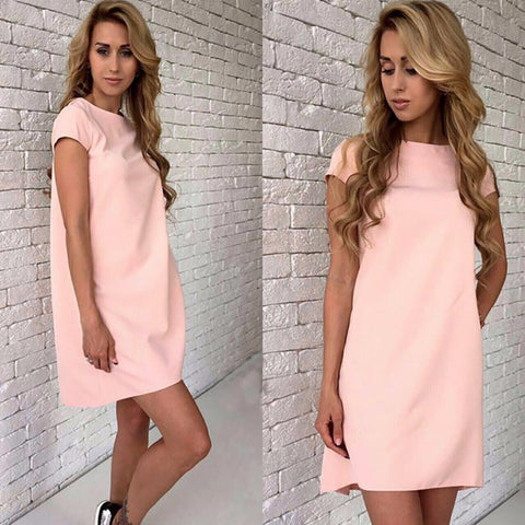 Simple Design Solid Color Women Fashion Summer Dress