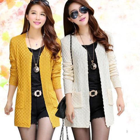 Fashion Summer Style Long Sleeve Thin Knitted Cardigan